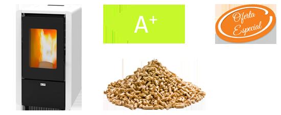 Oferta estufa de pellets barata alta eficiencia 6kW Hiperclima